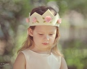 Felt Crown in ivory with pink roses, princess, birthday, velcro or ribbon ties