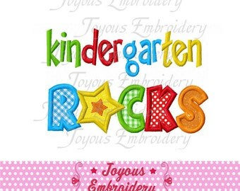 Instant Download Back To School Kindergarten Rocks Applique Embroidery Design NO:1556