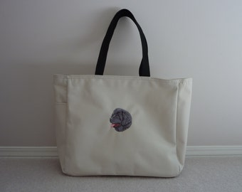 Newfoundland Dog embroidered tote bag