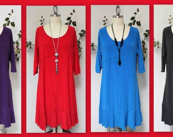 Dare2bstylish Tunic Dress, Long Tunic,  Lagenlook Tunic, Plus size Tunic Dress up to 4XL. Four Colors.