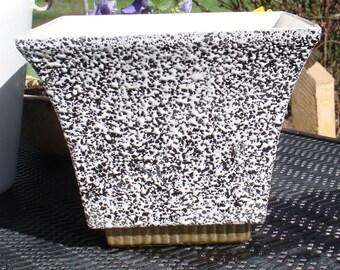 Vintage  Shawnee Planter Confetti Large Black and White .