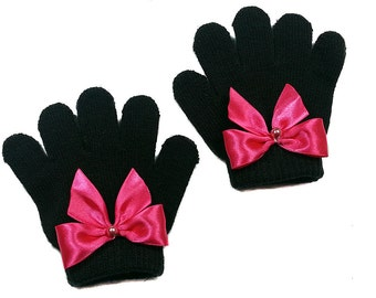 Black Baby Gloves with Hot Pink Satin Bow and Pearl-- For Baby Girl, Toddler, Hot Pink, Classic Ribbon Bow