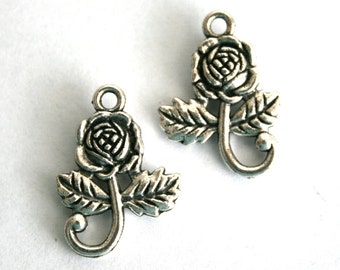 6 Tibetan Silver Flower Charms/Pendants/Connectors S-037