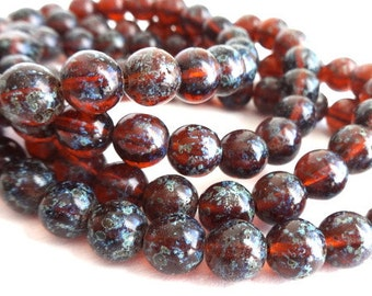 20 Czech Picasso Reddish Brown Round Beads
