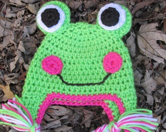 Baby Girl Frog Hat, Crochet Frog Hat, Newborn Frog Hat, Toddler Frog Hat, Child Frog Hat.Teen or Adult Frog Hat Photo Prop