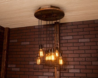 Industrial lighting, Industrial Chandelier, Black With Reclaimed Wood and 7 Pendants. R-18C-BC-7