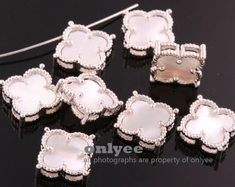 2pcs-14.5mmX14.5mmBright Rhodium plated over Brass Daisy Flower With Mother-of-Pearl Pendants,Charms-Pearl(K1192S-B)