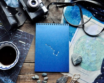 "Indian notebook-sketchbook with a carved pattern - constellation ""Ursa Major"""