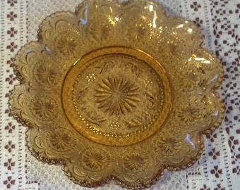 Set of 4 American Concord-Amber Luncheon Plates by Brockway Glass Co