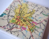 Anderson South Carolina Map Handmade Repurposed Map Coaster - Ceramic Tile Coaster - Repurposed SC road map - OOAK Drink Coasters