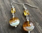 Gold and Pale Blue Swirly Czech Glass Dangle Silver Earrings.  Fall Jewelry