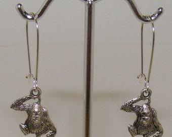 Modern Silver Monkey Earrings
