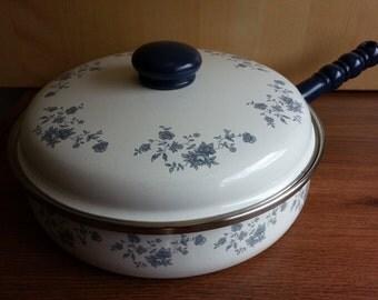 Vintage Enamel on Steel Saute Pan with floral design. 3 Quart Saute