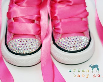Infant, Toddler High Top Baby Girl Pink Converse® All Star® Chuck Taylor's® With Pink Ribbon Laces & Swarovski® Bling Crystal Rhinestones