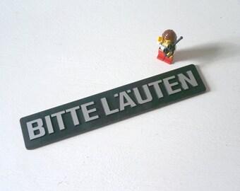 Vintage Industrial Office Door sign Bitte Läuten german