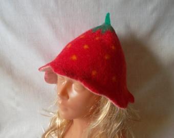 Sauna Hat  Strawberry Handmade