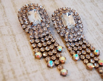 Glamorous Vintage Haute Couture Formal Rhinestone Regal Dangle Earrings