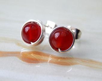 Stud Earrings, Carnelian Stud Earrings, Small  Post Earrings, Carnelian Earrings, Stud Earrings, Gift Ideas, Small Stud Earrings,