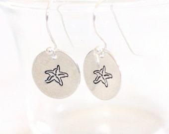 Sterling Silver Starfish Earrings, Hand Stamped Starfish Dangle Earrings
