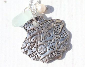Long Sea glass Necklace La Mer Shell Jewelry Artisan Fine Silver Beach Glass Jewelry Eco Friendly Precious Metal Clay Necklace