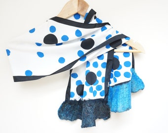 Nuno felt wool silk polka dot shawl wrap scarf white black blue ruffle fringe acetate viscose rayon summer ooak