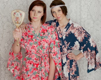 The Haiku. 4 custom full length kimono robes in faux silk. Bridal party robes. Long robe with pockets. Long kimono