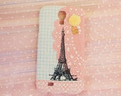 Diy Handmade Cloth Art Phone Case no.56a Pink color with Eiffel Tower for Sony Xperia Z z1 Z2 Z3 mini zr sp L tx V J Go HTC desire 610 510