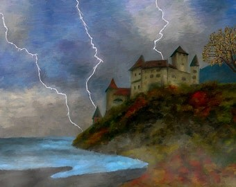 Castle On A Cliff Canvas Fine Art Print Lightening Stormy Home Decor Wall Art Digital Painting