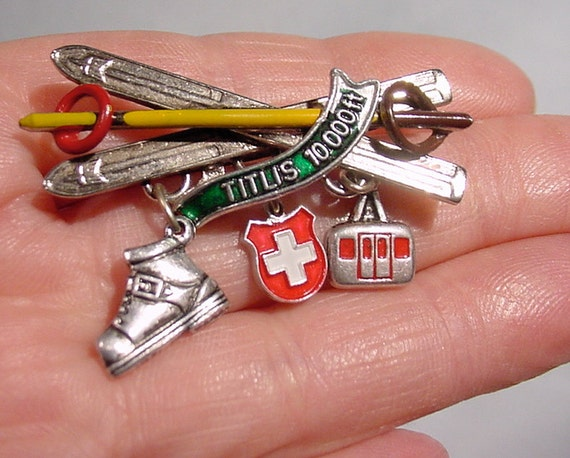 Ski Pin with Charms -Mount Titlis, Snow Skying Central Switzerland's loftiest peak