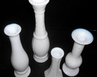 Vintage Vases, Milk Glass, White Vases, Shabby, Mismatched, Set of Four