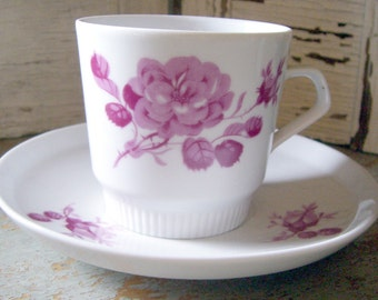 Vintage Tea Cup, Colditz, Floral, Pink, Roses, Demitasse, Teacup