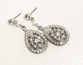 BRIANA - Vintage inspired bridal earrings, wedding jewelry, wedding earrings, art deco -Made to order