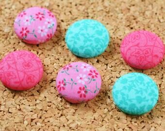 Magnets, Thumb Tacks, Pink and Teal, Set of 6