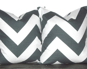 "22"" Chevron Pillow Cover Set - Two Throw Pillow Covers 22 x 22 inch Chevron Zig Zag Charcoal and White"