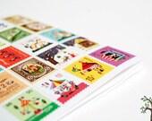 Francoise Stamp Sticker Set - Korean Diary Sticker - Paper Sticker - Filofax - 4 sheets in