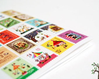 Francoise Stamp Sticker Set - Korean Diary Sticker - Paper Sticker - Filofax - 4 sheets in