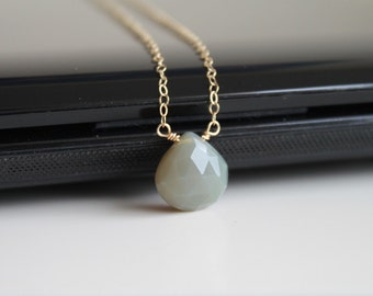 Natural grey chalcedony necklace, gold filled necklace, sterling silver necklace, small drop necklace, simple everyday jewelry