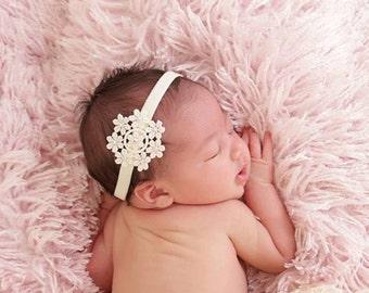 Flower Laced Headband, Infant headband, Swarovski Headband, Photo prop, Newborn Baby Headband, Flower girls, Baby Girls, baby girls headband