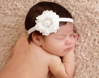 Chiffon flower headband, Pearl Baby Headband, Swarovski Baby Headband, Newborn Baby Headband, Elastic Headband, Photo Prop, Hair Accessories