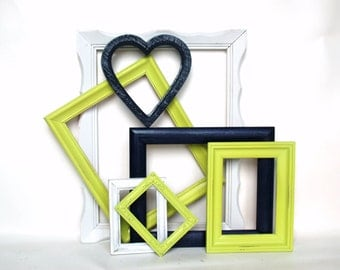 Frame collection painted open back frame gallery wall nautical