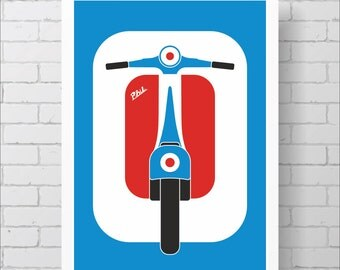 Personalised Mod Target Scooter Art Print, A1 or A2, Custom mods moped print