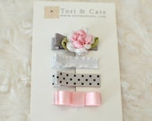 Set of 4 MINI Non Slip Hair Clips- Fully Lined Baby Hair Clip Set - Pink,Grey and White Hair Clips