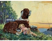 "Dog Saint Bernard Dog With Little Girl RESTORED Antique Print  ""In Safe Keeping"" 1940s  #66"