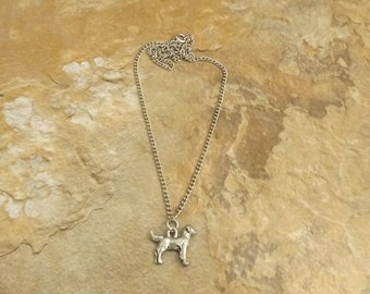 Pewter Golden Retriever Charm Necklace on a Link Style Chain - Free Shipping in the US - (5482)