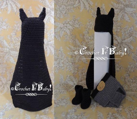Crochet Batman Cape/Hat Bootie and Diaper Cover Photo Prop