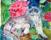 18 x 24 original water color LOUNGING CAT painting by Melissa Bollen new red painting, pink painting, blue, yellow, green