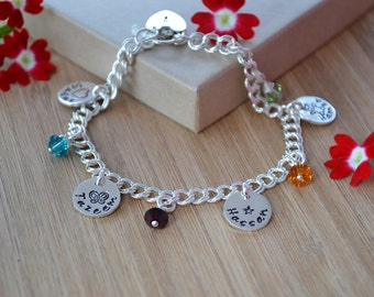 Hand Stamped family names charm bracelet personalised keepsake sterling silver UK any number charms