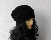 women slouchy - beanie hat - Slouch Beanie  - BLACK hat -  Knit Winter Fall Accessories Knit Cable - AlbadoFashion
