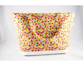Cotton multicolored peas handbag waterproof lining