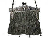 Antique Egyptian Revival German Silver Mesh Purse Winged Scarab